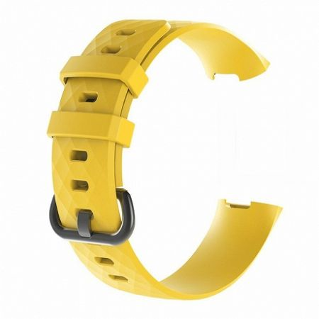 Fitbit Charge 3 Silicone Diamond (Large) szíj, Yellow