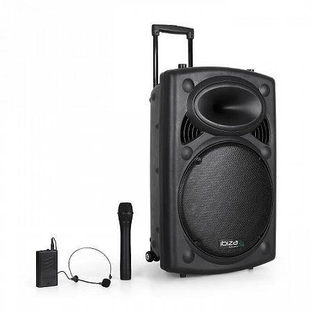 "Ibiza Port15VHF BT-38cm(15 "")PA rendszerUSB,SD,AUX,MP3 Bluetooth"