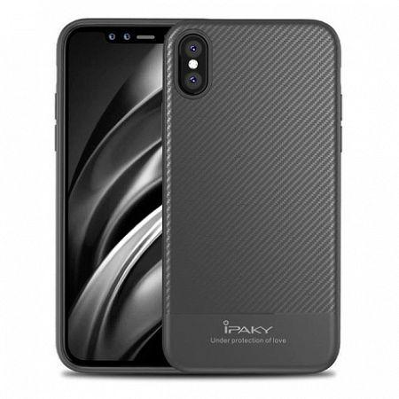 iPaky Carbon Fiber Flexible TPU szilikon tok iPhone X/XS, szürke