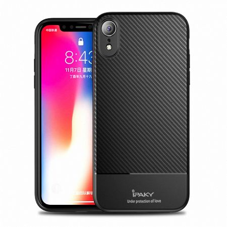 iPaky Carbon Fiber Flexible TPU szilikon tok iPhone XR, fekete