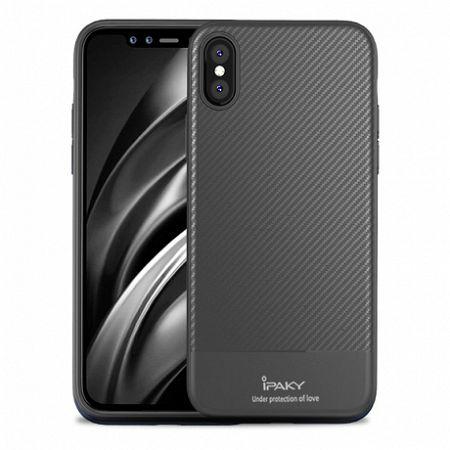 iPaky Carbon Fiber szilikon tok iPhone XS Max, szürke
