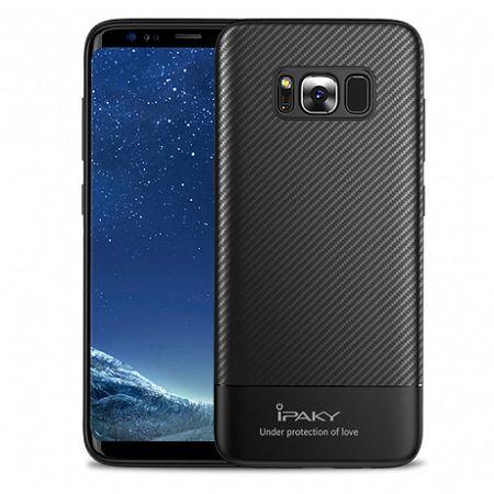 iPaky szilikon tok Carbon Fiber Flexible Samsung Galaxy S8 Fekete