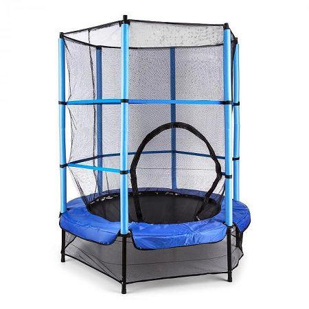 KLARFIT Rocketkid, 140 cm trambulin, belső védőháló, bungee rugók, kék