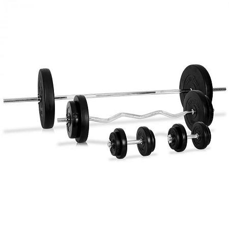 KLARFIT súlyzó készlet, 4 x rúd, 14 x súly, 97,5 kg
