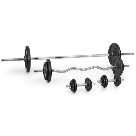 KLARFIT súlyzó készlet, kétkezes súlyzók, egykezes súlyzó, görbített súlyzó, 18 x súly, 105 kg