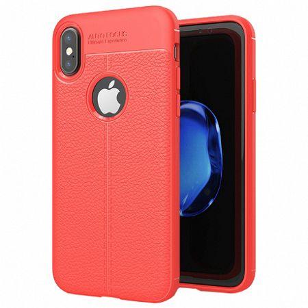 MG Litchi Pattern szilikon tok iPhone X/XS, piros