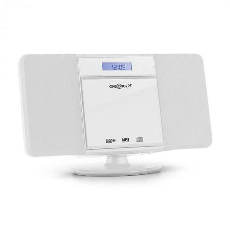 OneConcept V-13, fehér sztereó rendszer CD MP3 USB rádióval és ébresztőórával, falra szerelhető