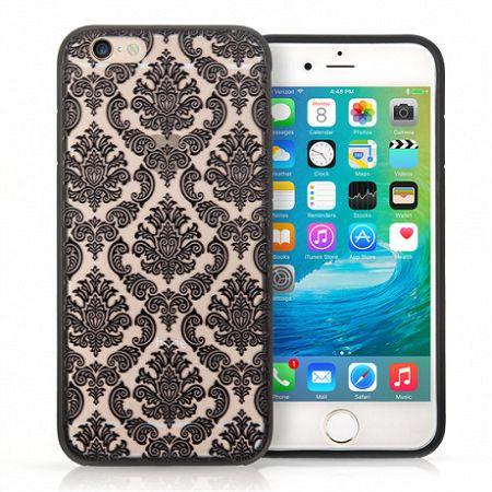 YouSave műanyag tok Damask TPU Hard iPhone 6/6s Fekete